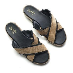 Seychelles Raw Fray Metallic Sandals Slides